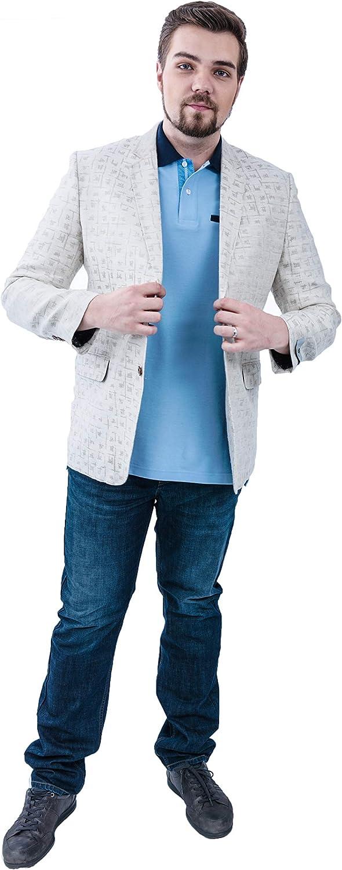 Plus Club Mens Button Down Plus Size Blazer with Side Pockets (M) Cream