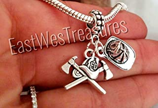 Firefighter Maltese Cross Charm Bracelet, Necklace, Keychain, Jewelry gift for Women Men