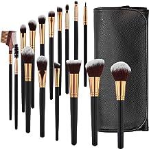 SOLVE Makeup Brushes 16 Pcs Premium Synthetic Foundation Blending Blush Concealer Eye Shadow Makeup Brush Set,Leather Trav...