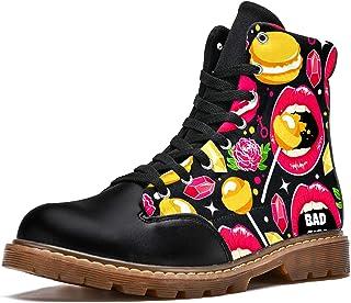 LORVIES Sucettes Lip Rose Macaron Diamond Bottes d'hiver Chaussures Montantes en Toile à Lacets pour Hommes