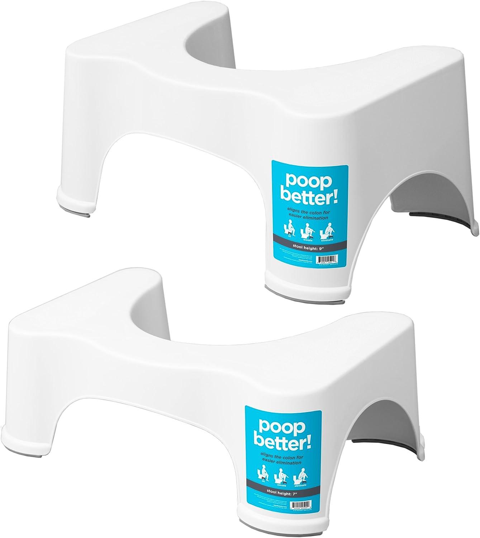 Squatty Potty The Original Bathroom Toilet Stool 7  & 9  2 Pack- White