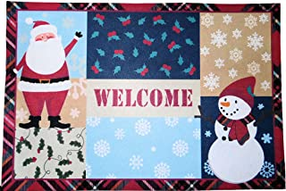 Christmas Holiday Santa Clause Snowman Patchwork Doormat Kitchen Mat Nonskid Neoprene Backing Polyester Front 18 x 27 inch...