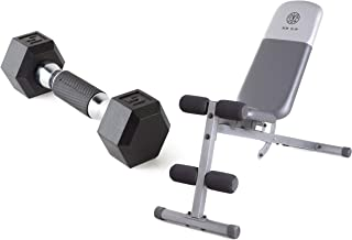 A.T. Products Corp. Cap Barbell Polyurethane Infused Dumbbell   5 lbs. Bundle with Gold's Gym XR 5.9 Adjustable Slant Workout Weight Bench