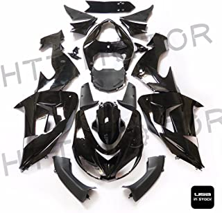 XKMT-Glossy Black ABS Plastic Fairings Bodywork Compatible With 2006-2007 Kawasaki Ninja ZX10R [B07675PNSY]