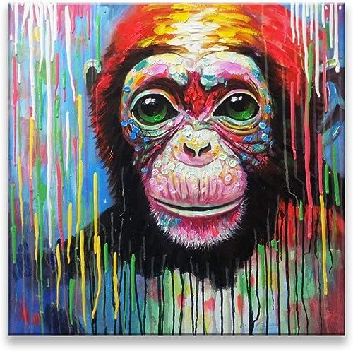 al precio mas bajo Puro Pintado A Mano Mano Mano Bricolaje Pintura Tridimensional Pintura Al óleo Animal Pintura Sala De Estar En Casa Dormitorio Entrada Hotel Arte Decoración Orangutan 80X80Cm  oferta especial