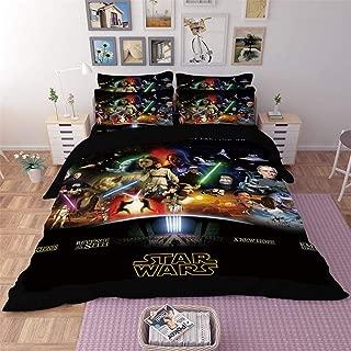 AMTAN 3D Star Wars Duvet Cover Set Action Science Fiction Adventure Movie Bedding 100% Polyester Fiber Kids Bed Set 3PC 1Duvet Cover 2Pillow Case King Queen/Full Twin Size