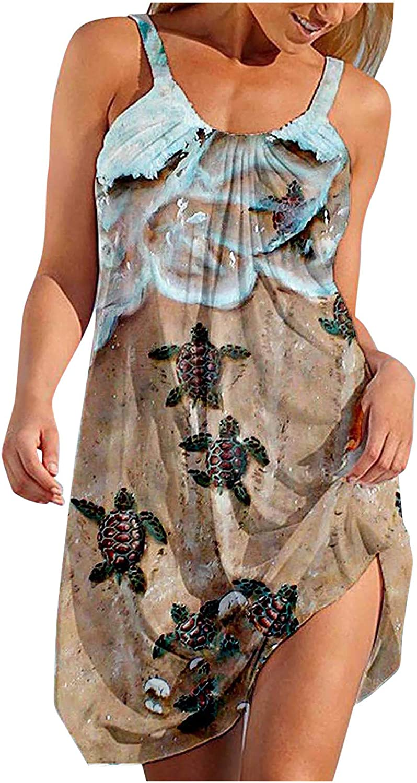 ORT Summer Dresses for Women, Womens Midi Dress Casual Solid Sundress Sleeveless Boho Tank Party Beach Mini Vest Dresses