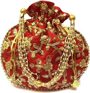 Ruchit Handicraft Velvet Potli | Wristlets Ethnic Potli for Women's | Designer Rajasthani Style Royal Clutch Silk Batwa Ba...