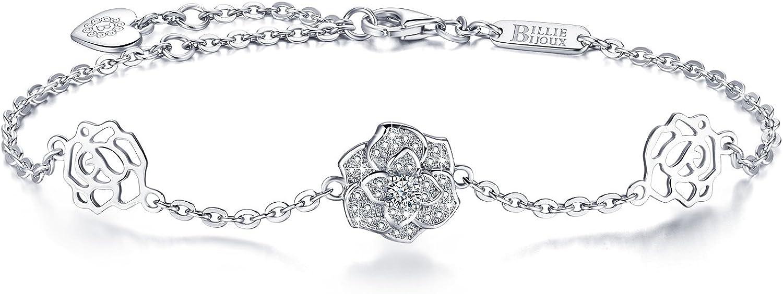 Billie Bijoux Silver Rose Flower Bracelet Womens 925 Sterling Si