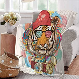 CRANELIN Boys Throw Blanket Hipster Rapper Tiger with Sunglasses Hat and Camera Artist Hippie Animal Comic Print Multicolor Bedroom Dorm Sofa Baby Cot Beach W60 xL80