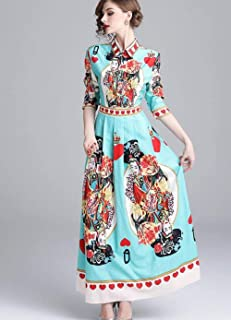 ABDKJAHSDK Spring New Up And Down Collar Collar Waist Print Women'S Long Dress