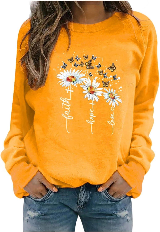 HUOJING Sweatshirt Women's Flower Butterfly Print Pullover Casual Tops Long Sleeve Sweater Blouse