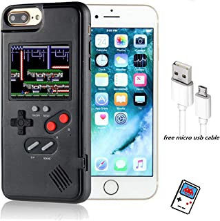 YLANK Gameboy Case for iPhone, Retro 3D Gameboy Design Style Silicone Cover Case with 36 Classic Retro Games,Color Screen Game Cover Case for iPhone X/Xmax,iPhone 6/7/8/Plus (Black, IPHONE6P/6P/8P)