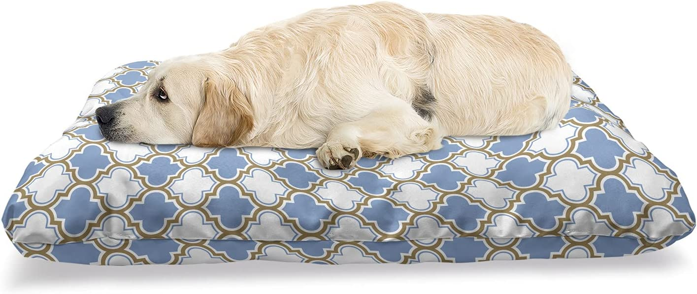 Ambesonne Trellis Blue Max 75% OFF Pet Bed Vintage Moroccan Lattice Tampa Mall Themed