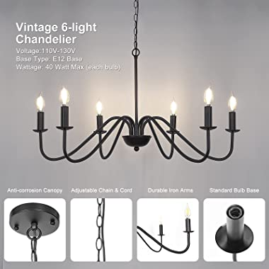 6-Light Black Chandelier, Industrial Iron Chandelier for Dining Room, Adjustable Farmhouse Hanging Light Fixture with E12 Bas