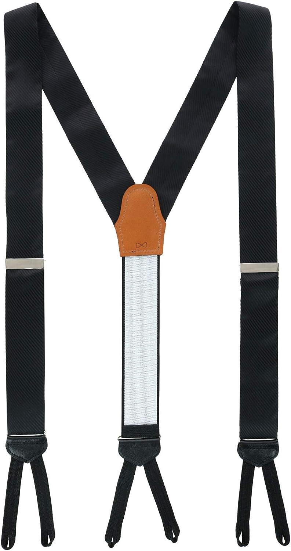 Trafalgar Men's Leyton Diagonal Lined Tone on Tone Silk Formal Braces