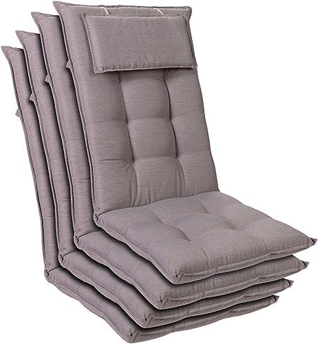 Homeoutfit24 Sylt - Cojín Acolchado para sillas de jardín, Hecho en Europa, Respaldo Alto con cojín de Cabeza extraíb...