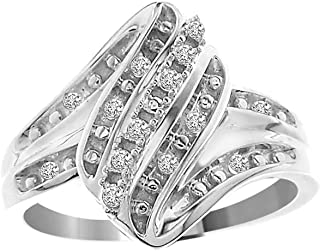 Eternal Bliss 1/10 cttw Round Natural Diamond Solid 10K Gold Ladies Cluster Engagement Ring