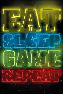 GB eye Ltd POSTER GAMING EAT SLEEP GAME REPEAT, Multicolor, 61 x 91,5 cm