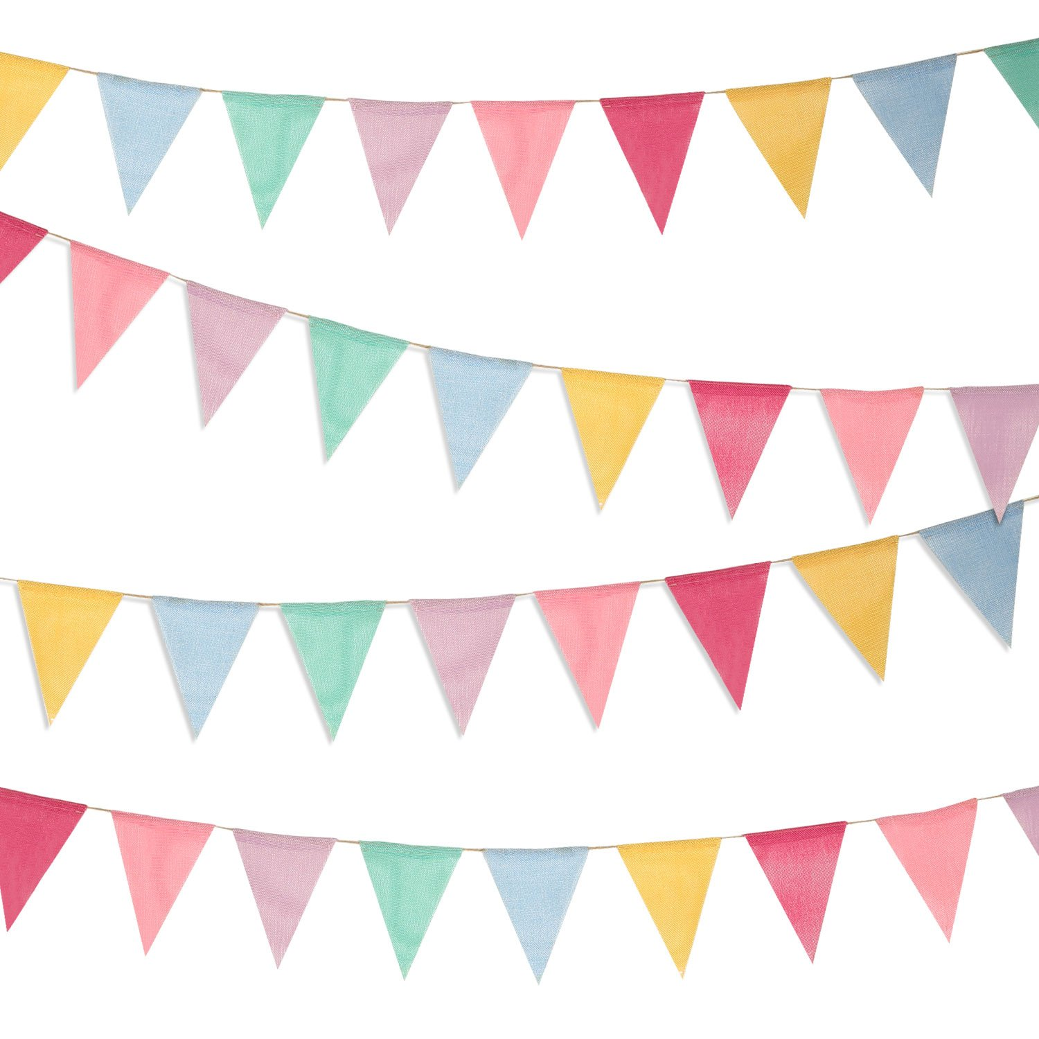 Boao 48 Pieces Colorful Pennant Banner Flags Imitated Burlap Bunting Banner for Party Decoration(4.9 x 6.7 Inch)
