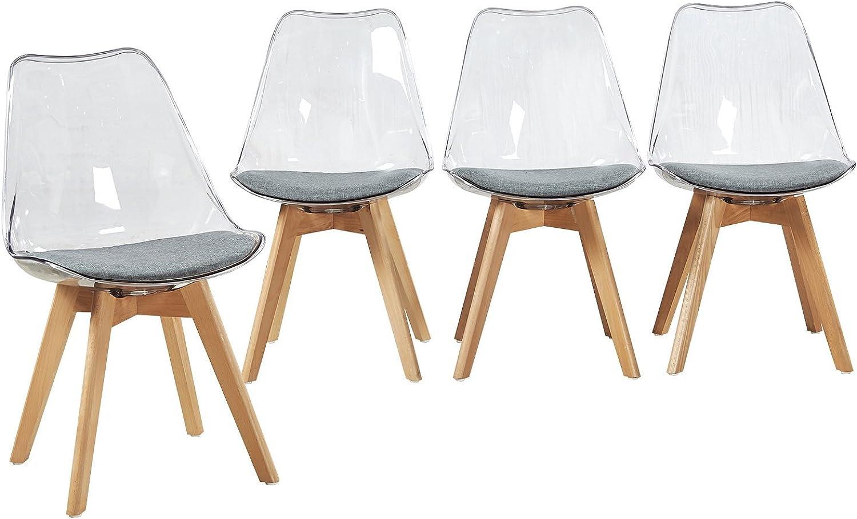 EGGREE 4er Set Transparent Stühle Skandinavisch Esszimmerstuhl Wohnzimmerstuhl mit Grauem Stoffkissen und Buchenholzbeine