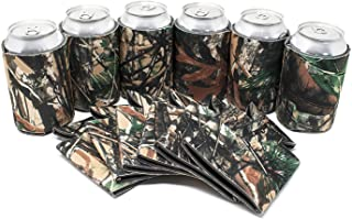 TahoeBay 12 Blank Beer Can Coolers, Plain Bulk Collapsible Soda Cover Coolies, DIY Personalized Sublimation Sleeves for Weddings, Bachelorette Parties, Funny HTV Party Favors (Camo, 12)