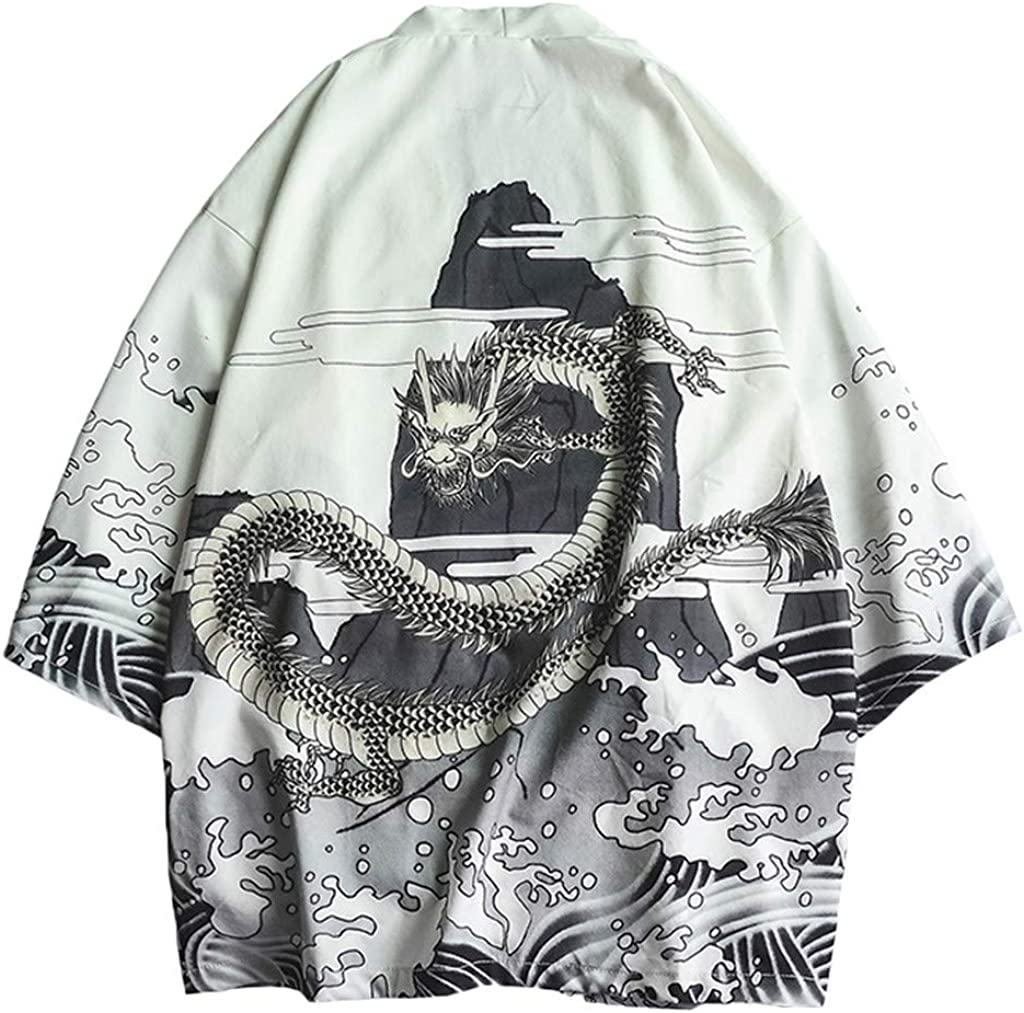 Kimono Cardigan for Mens, F_Gotal Men's Japanese Kimono Shawl Collar Cardigan Kimono Jackets Open Front Drape Cape Coat