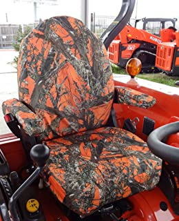 Durafit Seat Covers, KU06, Kubota Seat Covers for Tractor L3240, L3940, L4240, L5040, L5240, L5740 I6060 in MC2 Orange Camo Endura Fabric.