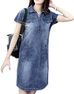 Women's Summer Denim Lapel Popover Shirt Dress Plus Size Casual Loose Jeans Dresses with Pockets