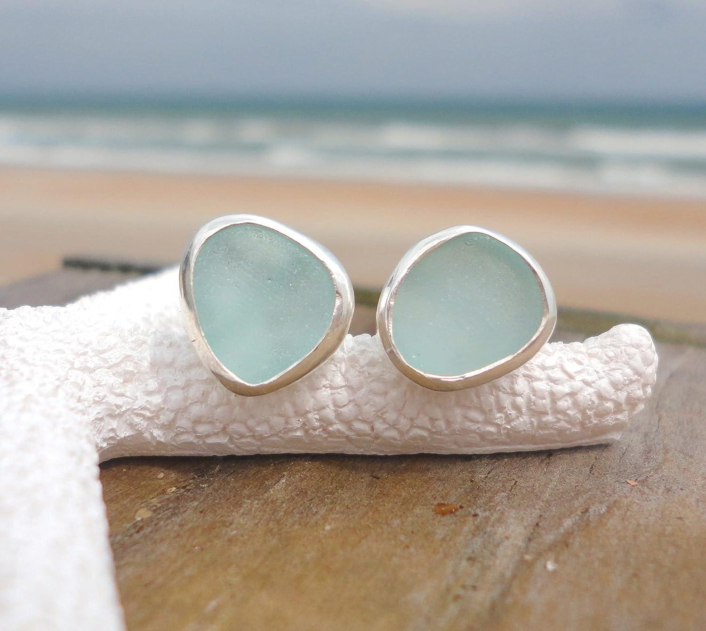 Aqua Sea Glass Stud Earrings-Sterling Silver Bezel Beach Glass Earrings-Mermaid Earrings for Women-Ocean Earrings-Gift for Beach Lovers (Cobalt Blue)