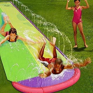 Double Lawn Water Slide 16ft Slip and Slide Play Center Slide Water Spraying and Crash Pad for Kids Children Summer Backya...