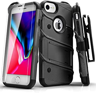Zizo Bolt Series Compatible with iPhone 8 Case Military Grade Drop Tested with Tempered Glass Screen Protector, Holster iPhone 7 Case Gun Metal Gray