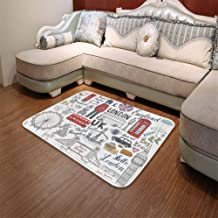 TecBillion Short Fur Floor Mat,Doodle,for Home Meeting Room,55.12