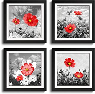 Sweety Decor Black Frame Wall Art - Red Cosmos Flower Picture - Monochrome Nature Plant Artwork...