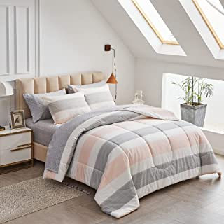 Joyreap 7 Piece Bed in a Bag Cotton, Luxury Bedding Set Queen Size Comforter Set for All Season- Light Pink n Gray Stripe...