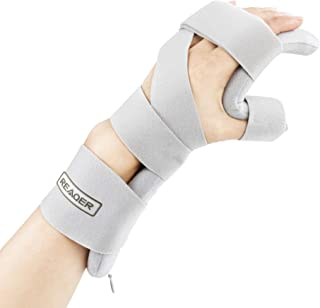 REAQER Resting Hand Splint Night WristThumb Immobilizer Support for Pain Tendinitis Sprain Fracture Arthritis Dislocation (Left)