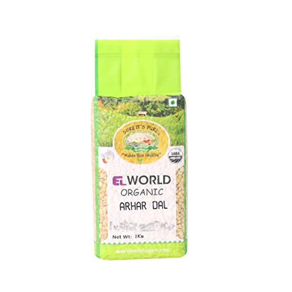 Elworld Organic Pigeon Peas (Tur Dal Or Arhar)- 500gX2 (Pack of 2)