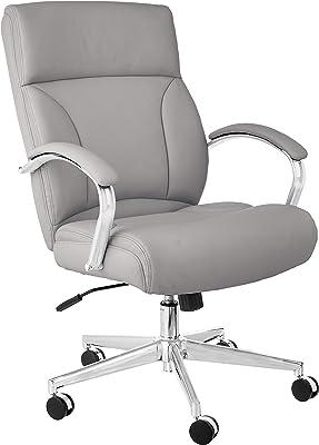 Amazon Basics Modern Executive Chair, 275lb Capacity with Oversized Seat Cushion, Grey Bonded Leather
