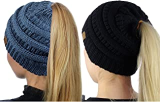 C.C BeanieTail Soft Stretch Cable Knit Messy High Bun Ponytail Beanie Hat, 2 Pack