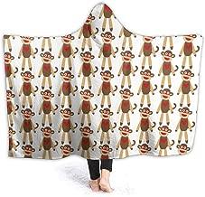 HFdAK.t Cute Sock Monkey Hooded Blanket Personalized Blankets Fleece Throw Blanket for Children, Adults