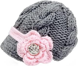 Handknit Newborn Toddler Baby Girls Crochet Knit Brim Cap Hat