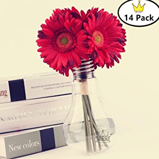 S.Ena 1 Branch 1 Head Artificial Silk Fake Flowers Gerbera Daisy Wedding Floral Home Decor Bouquet Birthday Party DIY, Pack of 14 (Red)