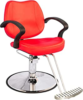 BarberPub Hydraulic Hair Salon Chair Beauty Salon Barber Chair for Hair Stylist 8801 (Red)