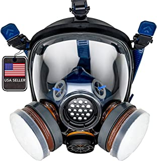 PD-100 Full Face Organic Vapor Respirator – Full Manufacturer Warranty – ASTM Certified – Double N95 Activated Charcoal Air filter – Eye Protection – Industrial Grade Quality