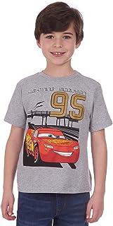 Disney Boys' Cars Lightning McQueen Round Neck Short Sleeve T-Shirt, Gray