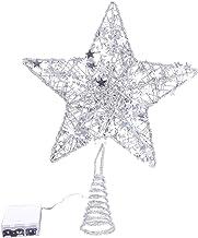KESYOO Silver Christmas Star Tree Topper Metal Glitter Lighted Tree Topper Glittering Tree Top for Xmas Tree Decorations H...
