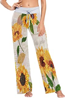 ALAZA Yellow Watercolor Sunflower Blossom Women's Pajama Lounge Pants Casual Stretch Pants Wide Leg
