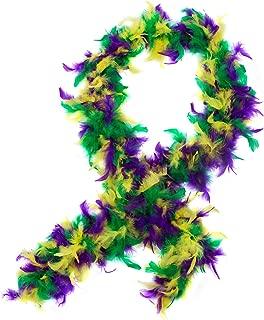 Funny Party Hats Feather Boa – Mardi Gras Boa – Marabou Diva Boa – Flapper Accessories – Purple Green & Gold Boa
