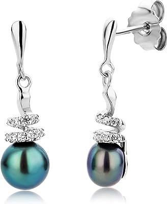 Miore Set di orecchini da donna con perle d'acqua dolce e zirconi rodiati, in argento Sterling 925