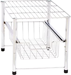AmazonBasics Stackable Sliding Basket Drawer Storage Organizer - Chrome